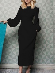 Black Pockets Round Neck Lantern Sleeve Work Maxi Dress