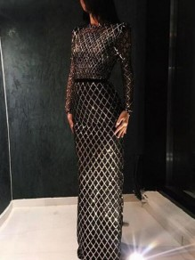 Black-Gold Plaid Sequin Grenadine Cut Out Backless Sparkly Glitter Banquet Party Maxi Dress