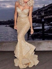 Gold Sequin Ruffle Mermaid Spaghetti Strap Sparkly Glitter Banquet Party Maxi Dress