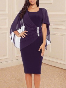 Purple Rivet Chiffion Peplum Irregular Grenadine Shawl Round Neck Short Sleeve Elegant Skater Midi Dress