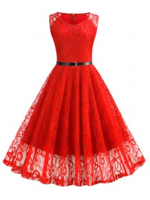 Red Floral Lace Belt Big Swing V-neck Sleeveless Elegant Cocktail Party Skater Midi Dress