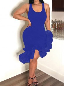 Royal Blue Patchwork Ruffle Irregular Deep V-neck High-low Bodycon Banquet Party Midi Dress