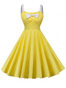 Abito midi cravatta pieghettata con spallina festa da homecoming backless giallo