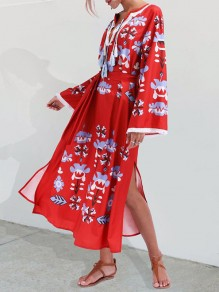 Red Tassel Belt Flowers Print V-neck Slit Bohemian Midi Dress