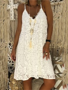 White Patchwork Lace Condole Belt V-neck Going out Midi Dress