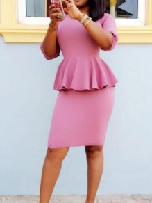 Pink Ruffle Half Sleeve Peplum Plus Size Elegant Party Midi Dress