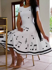 White Note Flowers Print Round Neck Short Sleeve Elegant Homecoming Party Prom Skater Midi Dress