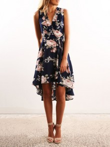 Navy Blue Floral Print High-Low V-neck Sleeveless Party Midi Dress
