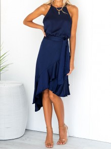 Dark Blue Irregular Ruffle Sashes Halter Neck Elegant Midi Dress