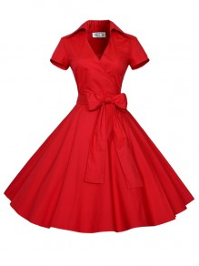 Red Bow Sashes V-neck Short Sleeve 50s Vintage Cocktail Party Midi Dress