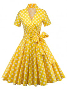 Yellow Polka Dot Print Bow Sashes V-neck Short Sleeve 50s Vintage Cocktail Party Midi Dress
