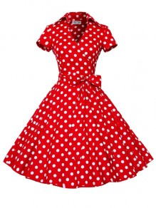 Red Polka Dot Print Bow Sashes V-neck Short Sleeve 50s Vintage Cocktail Party Midi Dress