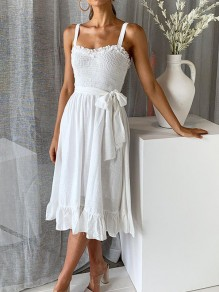 White Ruffle Sashes Draped Spaghetti Strap Elegant Beach Wedding Prom Midi Dress