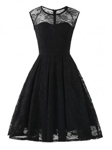 Black Flowers Lace Round Neck Sleeveless Cocktail Party Midi Dress