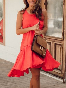 Red Patchwork Irregular Ruffle Sleeveless Elegant Midi Dress