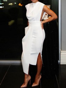White Slit Side Irregular Bodycon Ttrendy Party Midi Dress