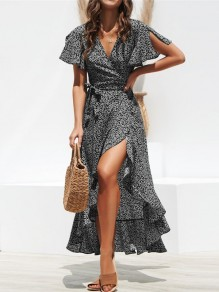 Black Floral Ruffle Sashes Slit V-neck Short Sleeve Fashion Casual Midi Dresses