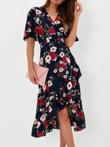 Navy Blue Floral Ruffle Sashes V-neck Short Sleeve Fashion Casual Midi Dresses