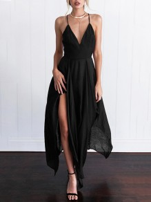 Black Backless Side Slit Spaghetti Strap Deep V-neck Bodycon Spaghetti Strap Party Midi Dress
