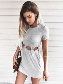 Grey Patchwork Cut Out Bodycon High Waisted Knot Trendy Fashion Midi Dress