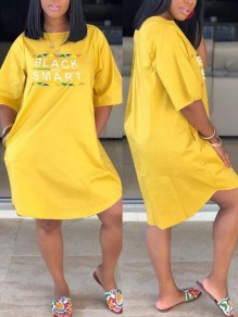 Yellow Monogram Black Smart Print Pockets Half Sleeve Plus Size Casual Midi Dress