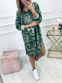 Green Fashion Comfy Going out One Piece Midi Dress