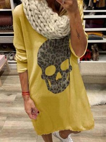 Yellow Fashion Comfy Going out One Piece Midi Dress