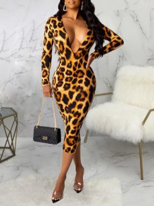 Brown Leopard Print Deep V-neck Bodycon Elegant Party Midi Dress