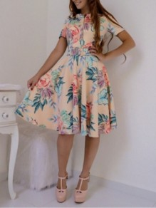 Apricot Floral Belt Zipper A-Line Big Swing Sweet Midi Dress