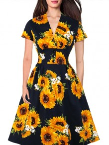 Multicolor Floral Pattern One Piece Comfy Going out Midi Dress