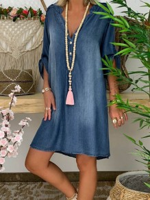 Blue Patchwork Buttons V-neck Short Sleeve Fashion Denim Midi Dress