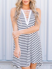 White Striped Cut Out V-neck Honey Girl Midi Dress