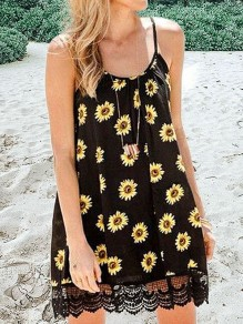 Black Yellow Sunflower Lace Suspender Cute Mini Dress