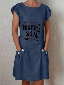 Navy Blue Hipple Soul Pockets Comfy Short Sleeve Round Neck Fashion Midi Dress