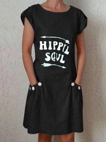 Black Hipple Soul Pockets Comfy Short Sleeve Round Neck Fashion Midi Dress