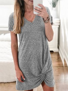 Grey Patchwork Irregular Knot V-neck Short Sleeve Midi T-Shirt Dress