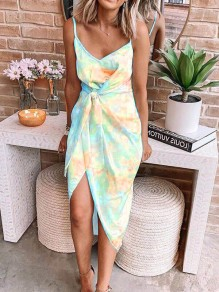 Yellow Blue Tie Dye Print Spaghetti Strap Backless Fashion Midi Dress
