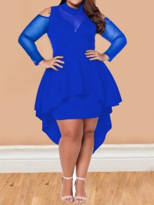 Royal Blue Irregular Ruffle Cut Out High-low Peplum Plus Size Midi Dress