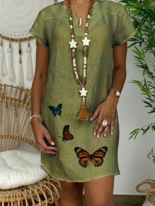 Green Butterfly V-neck Short Sleeve Casual Fashion Midi Dress