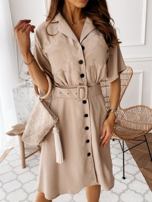 Khaki Buttons Sashes Single Breasted Turndown Collar Short Sleeve Going Out Midi Dress