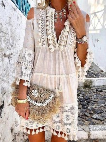White Tassel Lace Cut Out V-neck Bohemian Beach Midi Dress
