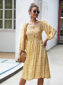 Yellow Floral Pattern Round Neck Long Sleeve Bohemian Midi Dress