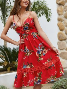 Red Floral Pattern Lace V-neck Sleeveless Bohemian Midi Dress