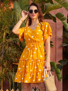 Yellow Floral Draped Ruffle V-neck Short Sleeve Fashion Midi Dress