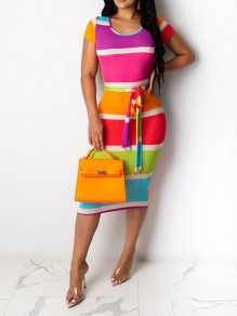 Rainbow Striped Sashes Cut Out Hip Bodycon Clubwear Midi Dress
