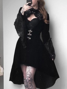Black Patchwork Lace Cut Out Flare Sleeve High-low Vintage Midi Dress