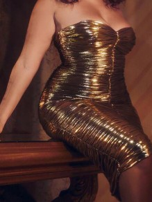 Golden Pleated Bandeau Off Shoulder Bronzing Sparkly Ruched Bodycon Banquet Party Midi Dress