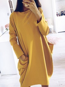 Yellow Pleated Pockets Bodycon Comfy Going out Midi Dress