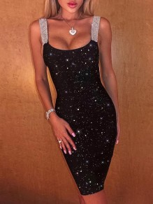 Black Patchwork Rhinestone Sequin Bodycon Glitter Sparkly Party Midi Dress