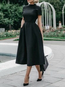 Black Pockets Band Collar Short Sleeve Elegant Homecoming Party Prom Skater Midi Dress